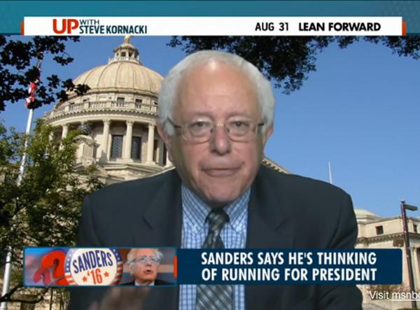 Bernie Sanders tells MSNBC he is weighing a 2016 run based on broader populist message